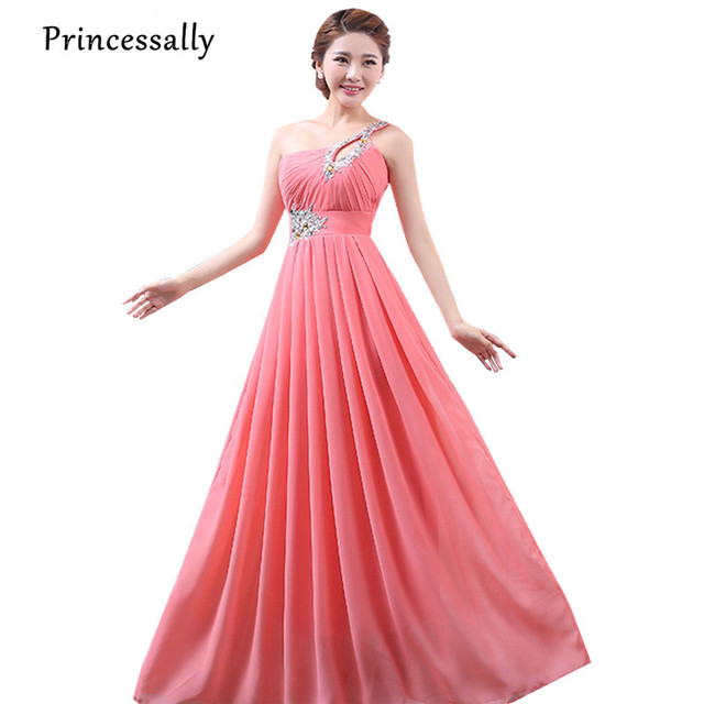 One Shoulder Coral Bridesmaid Dresses Long Chiffon With Beading