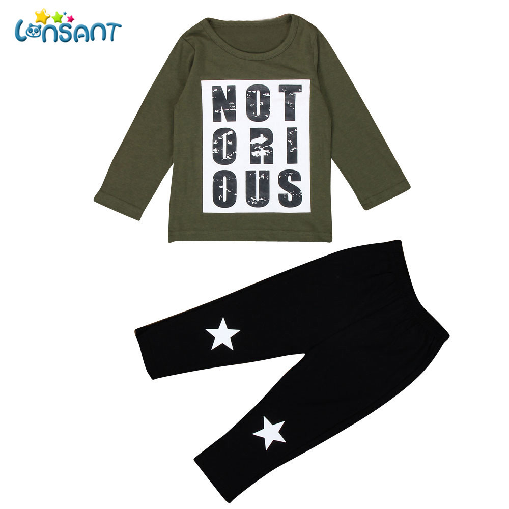 LONSANT Toddler Handsome Kids Boys Outfit Long Sleeve Clothes Warm Print Long Sleeve T-shirt +Long Pants 1Set