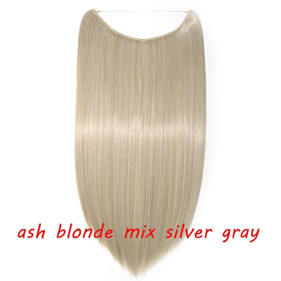 S-noilite 20 дюймов невидимый провод без заколки для волос Расширения секретная Рыбная линия шиньоны шелковистые прямые настоящие натуральные синтетические - Цвет: 24 mix silver gray