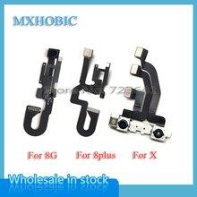 Cámara frontal para iPhone 8, 8G Plus, X, XR, XS, Max, Cable flexible, módulo frontal, piezas de repuesto, 10 unidades/lote