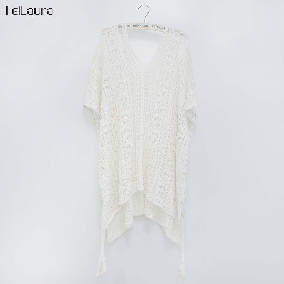2018 New Beach Cover Up Bikini Crochet Knitted Tassel Tie Beachwear Summer Swimsuit Cover Up Sexy See-through Beach Dress