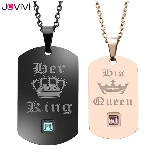 Jovivi couple necklaces stainless steel crown dog tag pendant his jovivi couple necklaces stainless steel crown dog tag pendant his queen her king matching set aloadofball Image collections