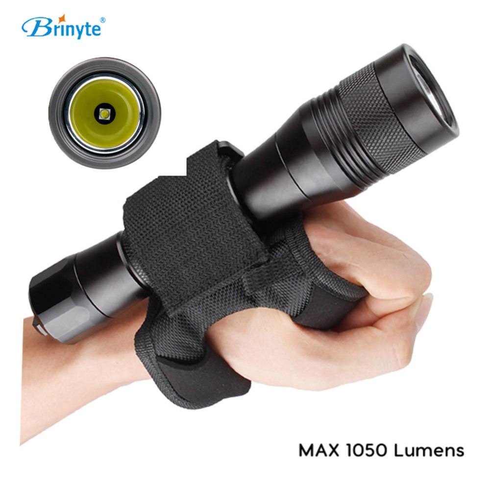 Brinyte DIV01 CREE XM-L2(U4) LED Rechargeable Diving Flashlight Underwater 200m Lantern LED Scuba Diving Flashlight+Wrist Strap brinyte div10w led canister video light cree xml2 4500lm led scuba diving torch flashlight 200m underwater lamp