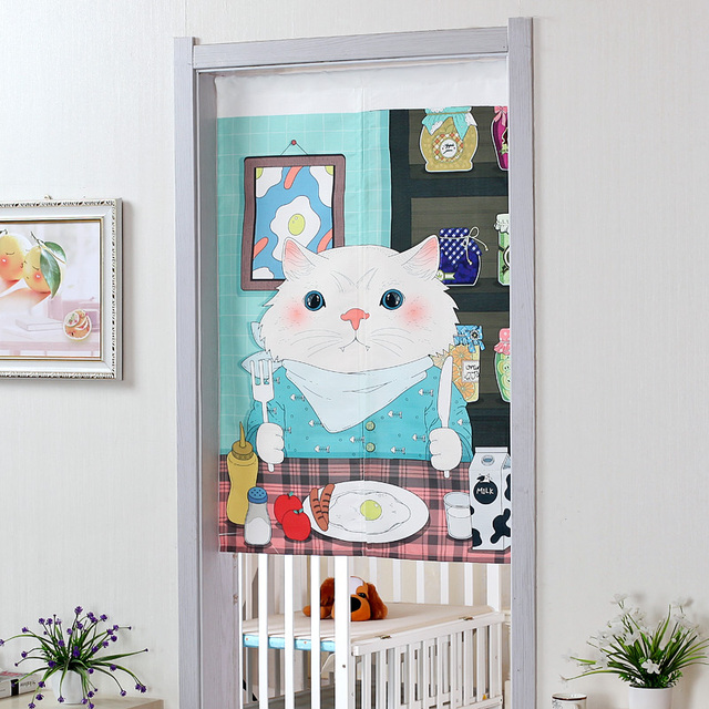 Kitchen Fabric Door Curtains Blue Cartoon Cat Dinner Table Print Doors Decor Dinning