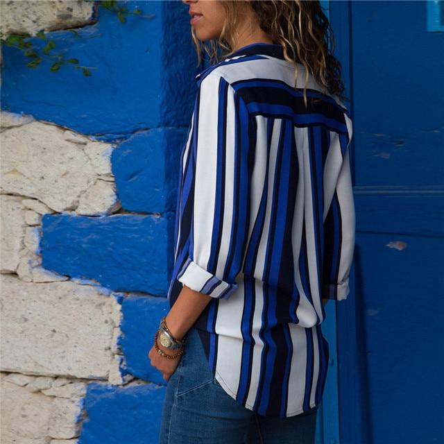 Ladies Long Sleeve Chiffon Striped Shirt 2