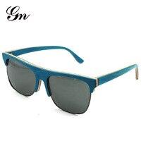 2018 new G M cat eye sunglasses female brand designer semi frameless wood sunglasses male wooden sunglasses