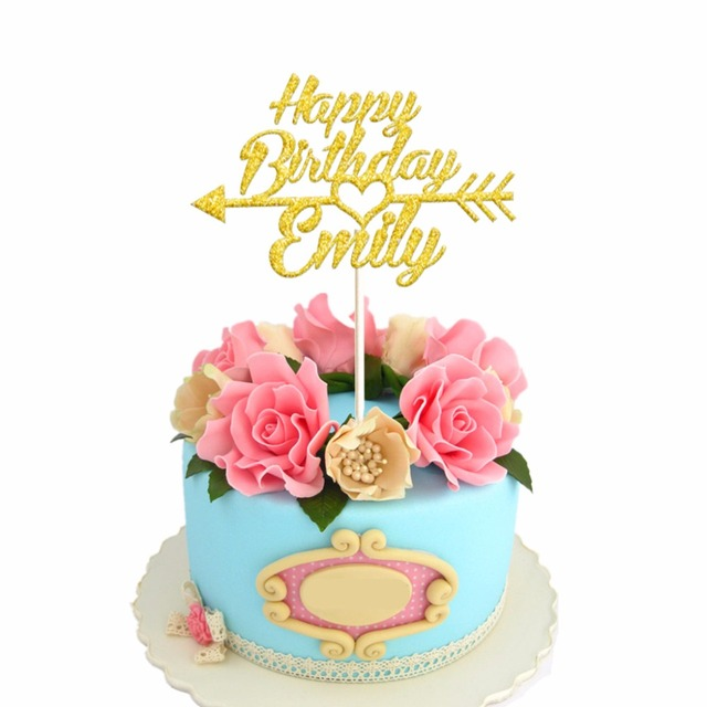 1pcs Personalized Custom Happy Birthday Cake Topper with Arrow Cake