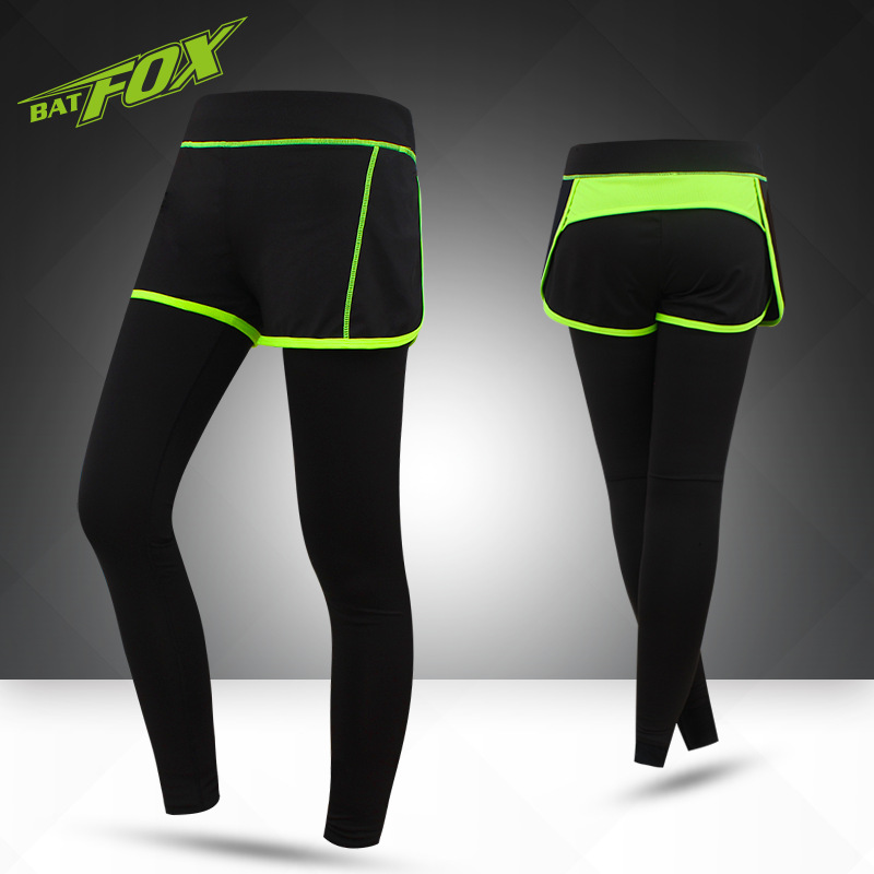 BATFOX Womens Cycling Pants Tights Sportswear Sports Gym Fitness Running Yoga Leggings Tight Trousers Pants With Shorts F224