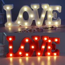 3D Luminous Letters Night LED Light Creative LOVE Alphabet Marquee Sign Wall Hanging Lamp Wedding Party Decor gift