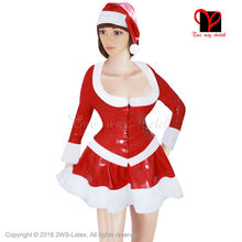 Sexy Christmas Latex jacket skater skirt Santa hat two Piece Sets Rubber clothes top shirt suit bodycon playsuit plus size XXXL