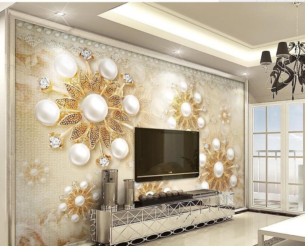 US $15 12 OFF Kustom 3d Foto Wallpaper Emas Eropa Mutiara Renda 3d Stereo Wallpaper Untuk Ruang Tamu Rumah Dekorasi Wallpaper Perbaikan
