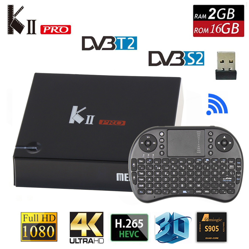 Prix pour KII PRO DVB T2 Android TV Box 2 GB 16 GB DVB-T2 DVB-S2 Android 5.1 Amlogic S905 5.0G Double WIFI K2 pro 4 K Smart TV Box + i8 Clavier