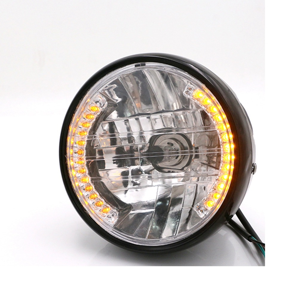 7 Inch <font><b>H4</b></font> Round Motorcycle Headlight Turn Signal Light Flasher 35W 12V Amber <font><b>LED</b></font> Head <font><b>Lamp</b></font> for Motorbike <font><b>Moto</b></font> Accessories image