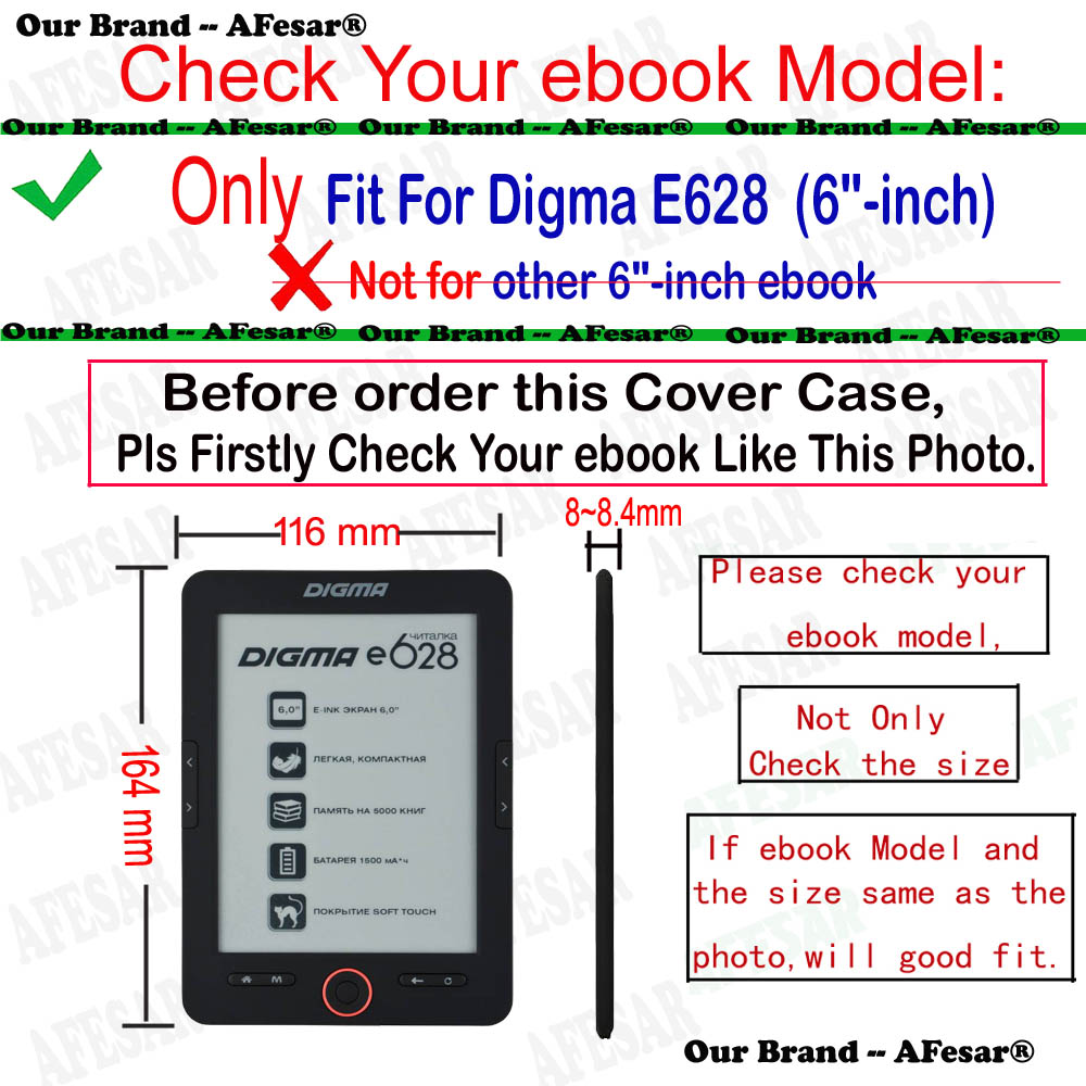 Afesar pretty Folio Flip Book Cover For Digma E628 eReader protect Pu leather case for e628 288107 ebook good hand feeling pouch