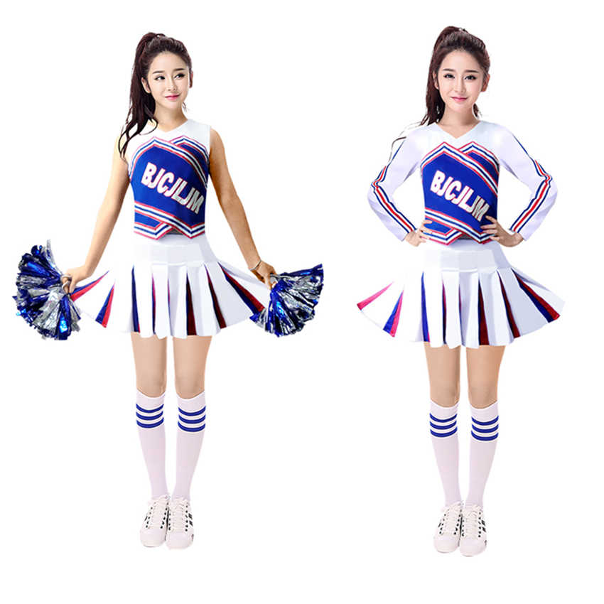 650212b25ee New Cheerleading Dance Cheerleaders Costume Adult Long&Short Sleeve  Performance Party Top+Pants Set Sport Cheering Uniforms