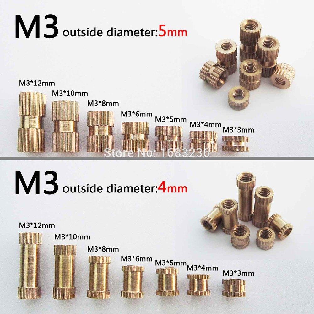 50pcs M3 Brass Copper Metric Thread Knurl Insert Nut Nutsert Round Shape External Outside Diameter OD 4/5mm Length=3-12mm