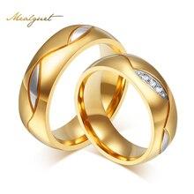 Meaeguet кольца пара для женщин мужчин кубического циркония обручальное кольцо золотого цвета нержавеющей стали женщины ювелирные изделия