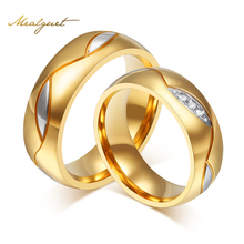 Meaeguet Couple Rings For Women Men Cubic Zirconia Wedding Ring Gold-Color Stainless Steel Female Jewelry