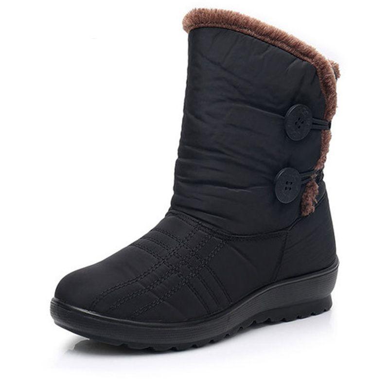 Invierno 2018 Mujeres Red Botón brown Timetang Impermeable negro La De Para  Casuales Zapatos Nieve Botas Moda Wine Las Antideslizante ... 6feae3ff53a73