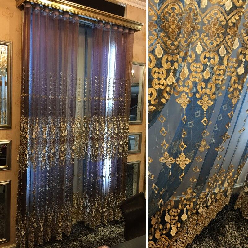2017 Nouvelle De Luxe de Style Européen Broderie Rideau, Villa Salon Chambre Gaze Ombre, bleu Violet Brun Rideaux Sur Mesure.