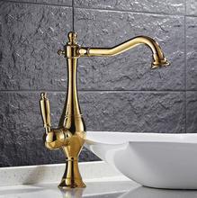 Бесплатная Доставка латунь 360 градусов никель или золото кухонный кран раковина кран с уплотняет шланг роскошный водопроводной воды бассейна кран