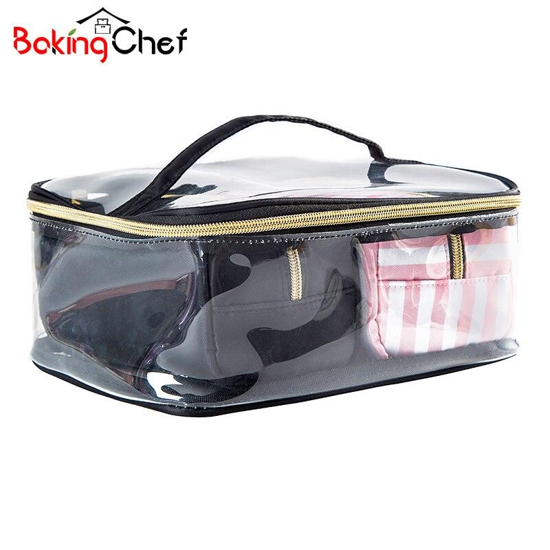 BAKINGCHEF 3Pcs Clear PVC Cosmetic Storage Bag Women's Waterproof Travel Toiletr