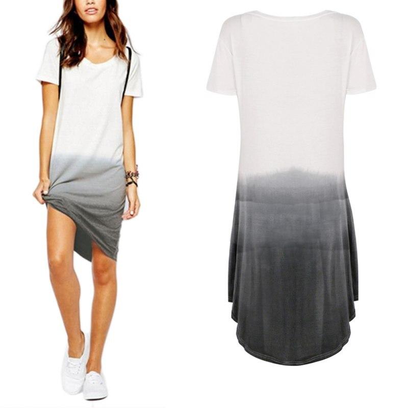 Verano t shirt dress vestidos más el tamaño de degradado de color de manga corta