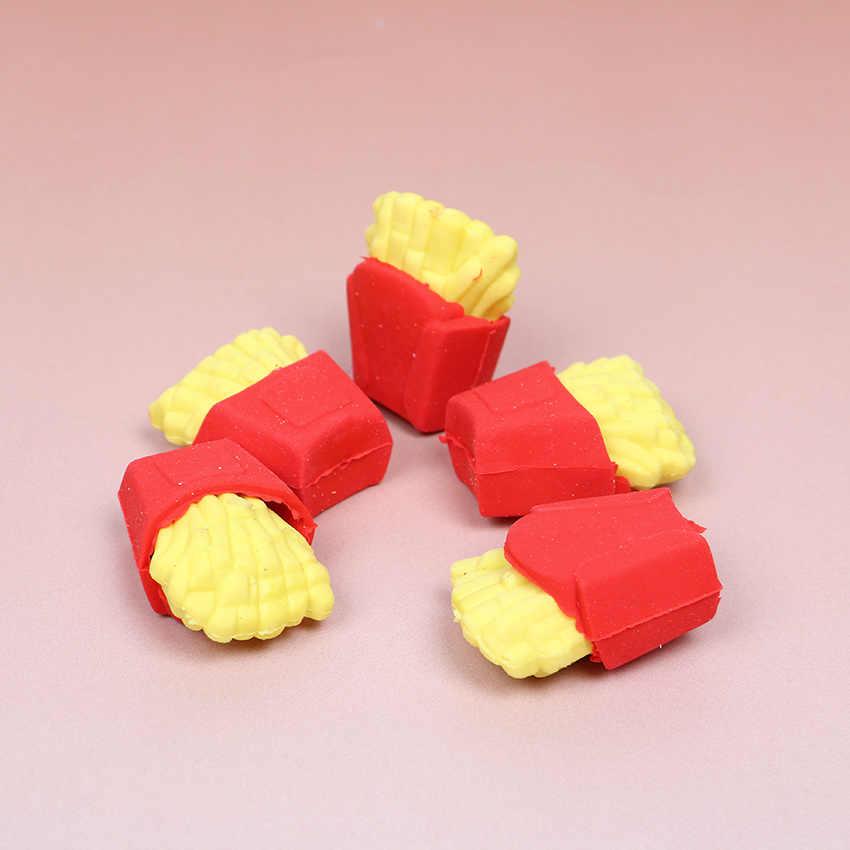 6 unids/set lindo Kawaii borrador hamburguesa comida patatas fritas Borrador de perro caliente Oficina suministros de corrección