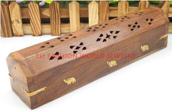Wooden Coffin Incense Stick Cone Burner Holder with Storage Compartment