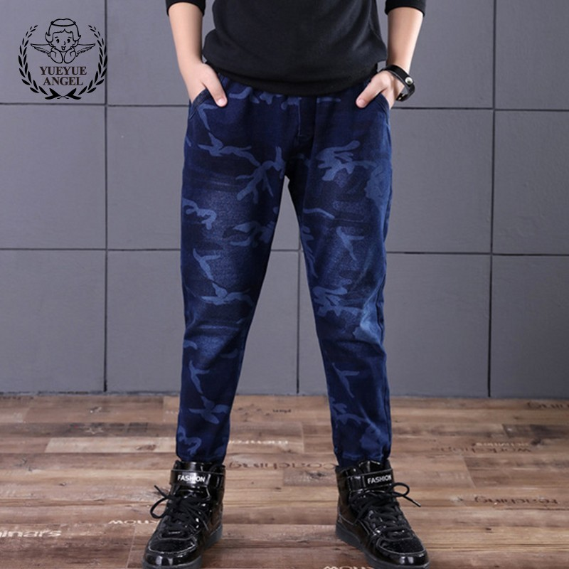 New Denim Soft Elastic Waist Pants For The Boy Korean Style Camouflage Jeans Spring 2018 Outwear Blue Casual Boys Trousers 2017 vintage bf style fit high waist jeans elastic femme women washed blue denim skinny jeans classic pencil trousers pants page 9