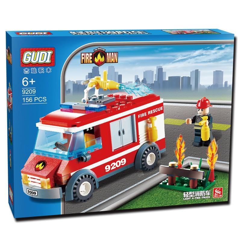 GUDI 156pcs City Fire Station Fire Truck Minifigure Building Block Children Toy Action Figure Kids Toys