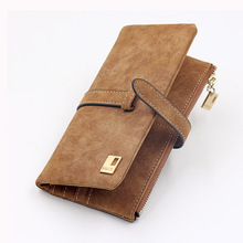 Korean-Style Long Lady Wallet Fashion Soft Cord Holder Wallets Drawstring Pu Women Leather 2 Fold Purse Coin Pocket
