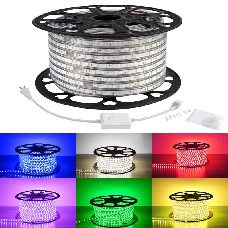 buy popular 91b64 c4054 Lampux 110 120V Flexible Waterproof LED Strip Light, RGB ...