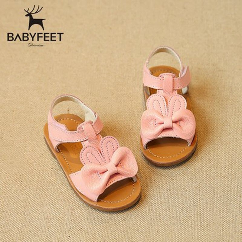 Brand babyfeet Summer Genuine Leather Sandals baby girl infant kids children girls princess Sandals Shoes Cute bow Toddler shoes baby moccasins the coral pear classic moccasin genuine leather infant toddler kids