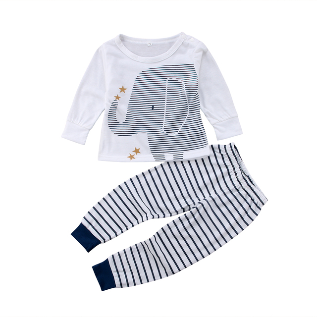 26cf350c06f5 2018 Cute Newborn Baby Boys Cute Long Sleeves Elephant Striped Tops ...
