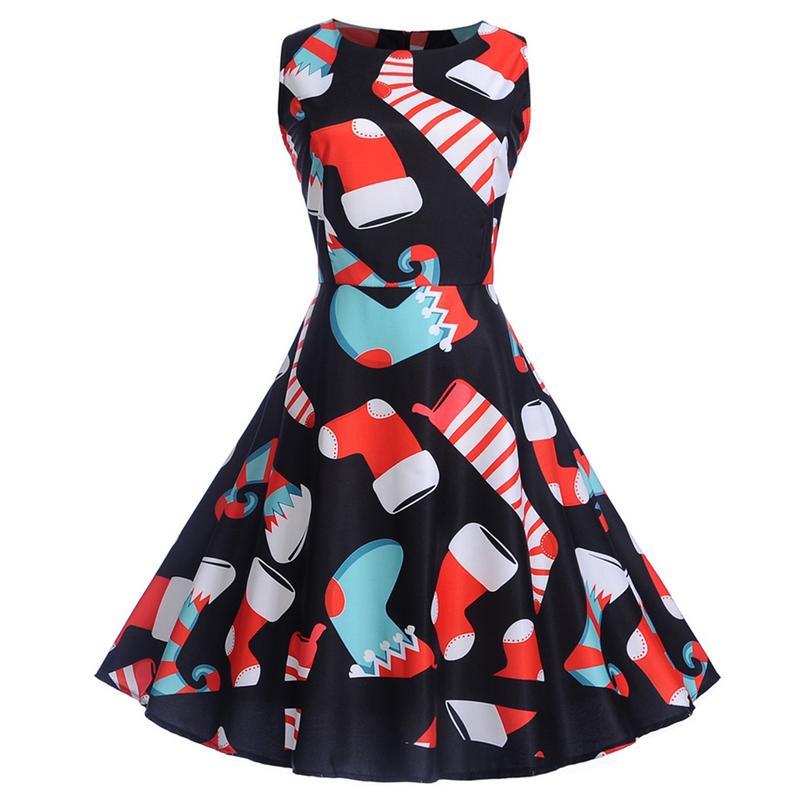 Autumn Dress 2018 Women Casual Vintage Christmas Santa Claus Printed Swing Dress Elegant Party Vestidos Plus Size 2XL