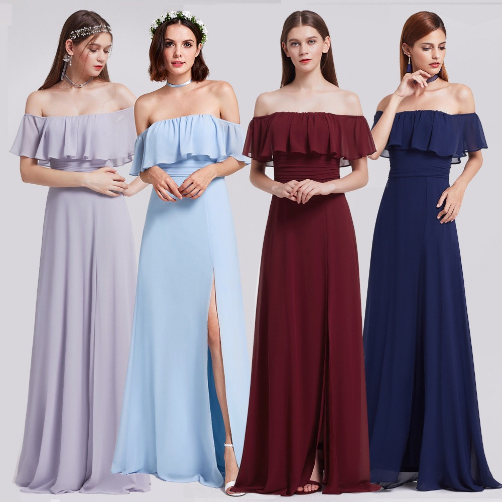 Chiffon Bridesmaid Dresses Ever Pretty EP07171 Charming Off Shoulder Ruffles  High Split Floor Length Long Wedding Party Gowns-in Bridesmaid Dresses from  ... 9c81d471e8ce