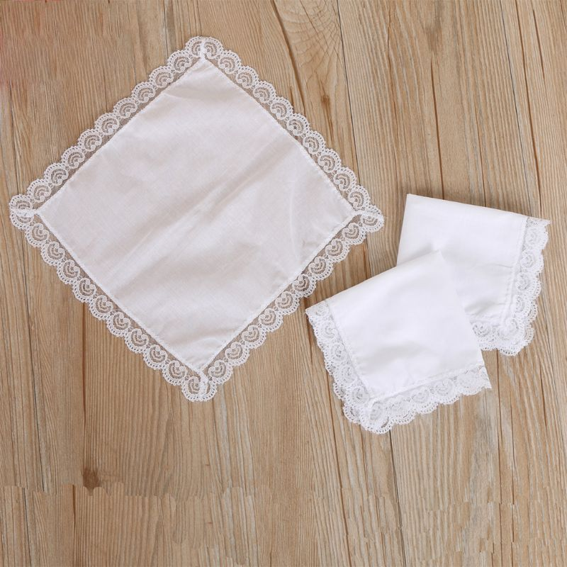 Women Plain White Square Handkerchiefs Crochet Peach Heart Scalloped Lace Trim Bridal Wedding DIY Cotton Napkin Hankies 25x25cm