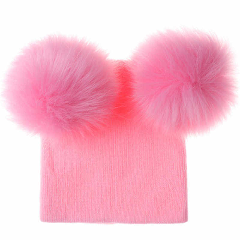 Ideacherry ילדים כובע פעוט ילדי תינוק חם חורף צמר כובע סריגה כפת הפרווה פום פום כובע תינוק ילד בנות כובע 1-2Year תינוקות