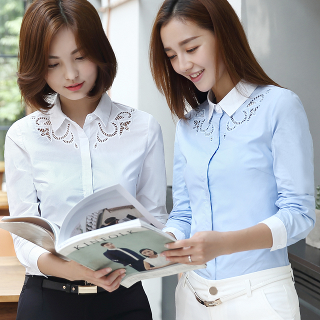 Plus Size 2016 Autumn Women Hollow Out Han Fan Literary Ol Embroidered Shirts Blouse Shirt White Blue 8256