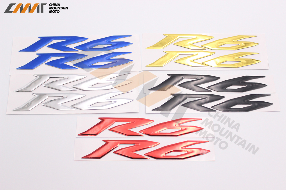 Motorcycle Sticker 3D R6 case for YAMAHA YZF600 R6 1998-2014 LOGO Badge 99 00 01 02 03 0 ...