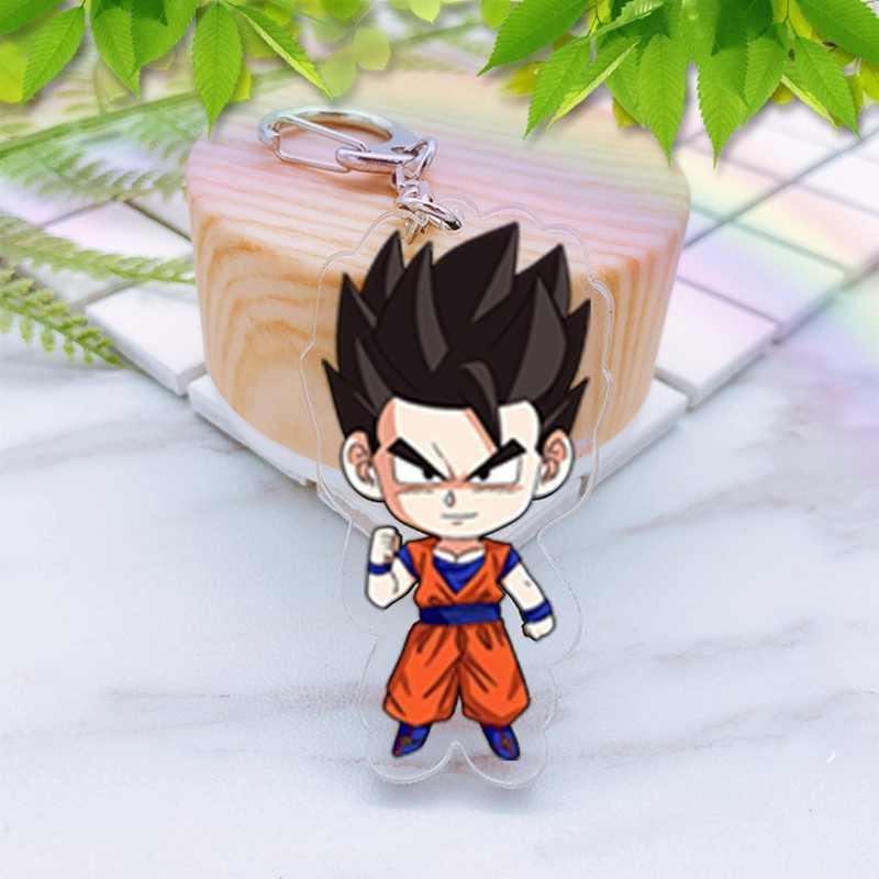 Anime dragon ball z son goku acrílico twoside impressão chaveiro super saiyan vegeta frieza figuras dos desenhos animados chaveiros brinquedos portachiavi
