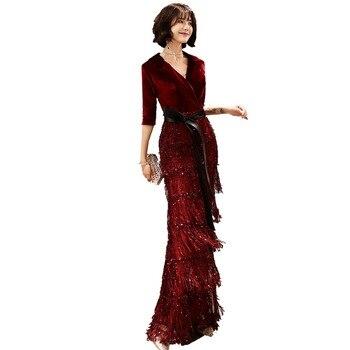 Burgundy Slim Sequined Mermaid Prom Dresses V Neck 2020 Dubai Arabic Evening With Sleeves Dancing Bling Tassel