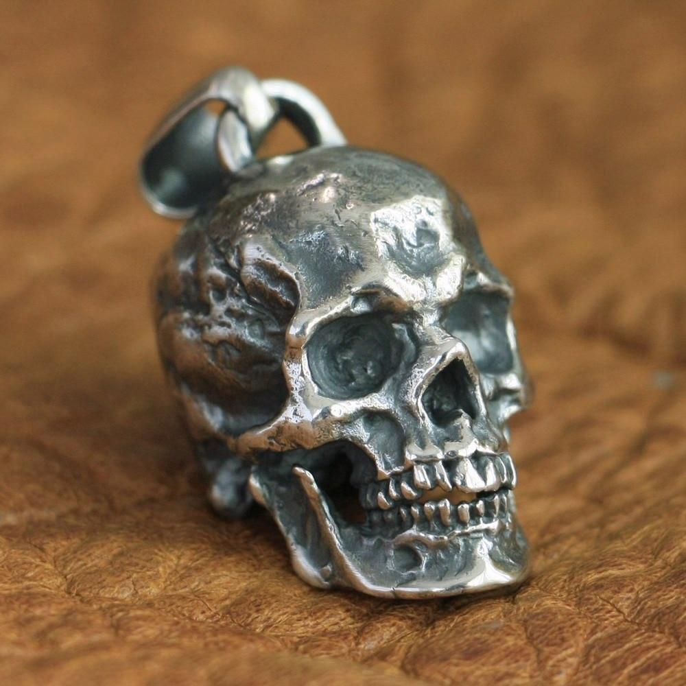 LINSION 925 Sterling Silver High Detail Skull Pendant TA86 Mens Biker Style Pendant solid 925 sterling silver skull mens biker pendant 8c011 with matching stainless steel necklace