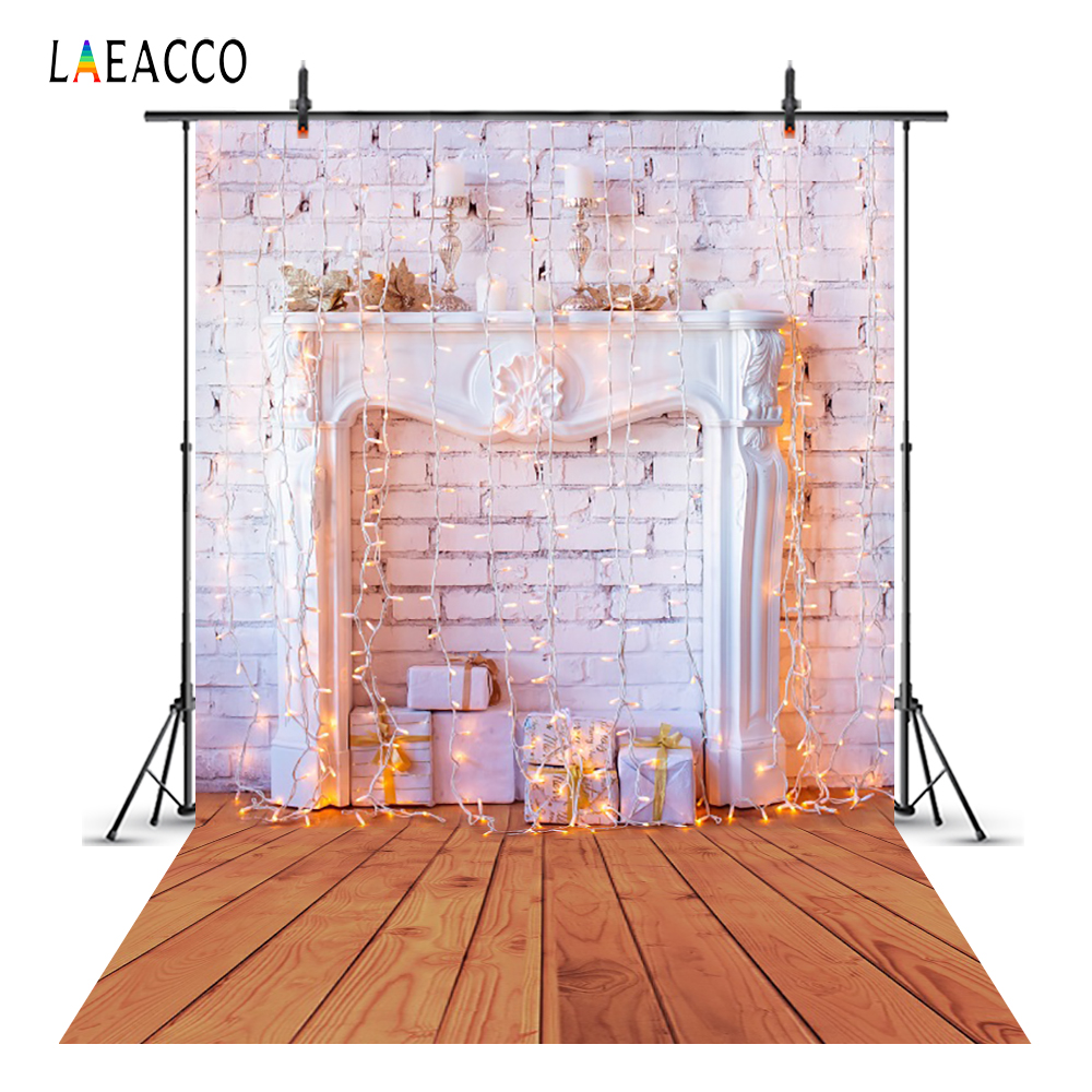 Laeacco Christmas Fireplace Lights Garland Wooden Floor Photography Backgrounds Custom Photographic Backdrops For Photo Studio