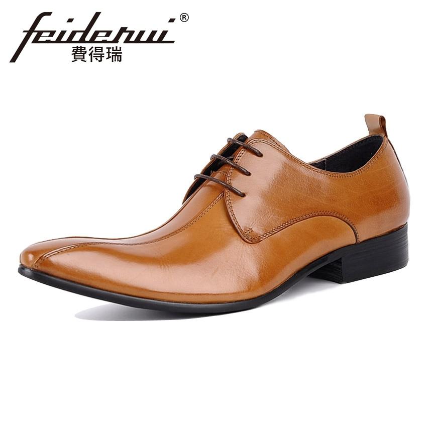 207b542015 Apontou Casamento Vestido Derby Artesanal Festa Ymx92 Couro Calçados Sapatos  Toe Designer Preto Homens Formal Luxo Italiano De marrom Homem ...