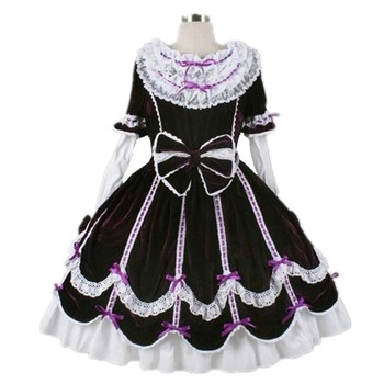 Children Halloween Victorian Gothic Lolita Velvet Dress Kid Girls Cosplay Princess Ball Down Layered Bowknot Royal Dresses 2-15Y