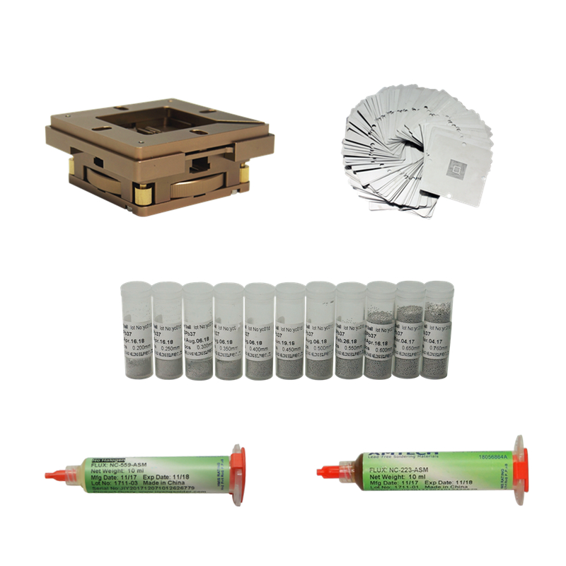 47pcs/lot 80mm 90mm Universal BGA Reballing Jig Kit 33pcs 90mm BGA Heating Stencils 223 559 Solder Flux 11pcs 25K Solder Ball