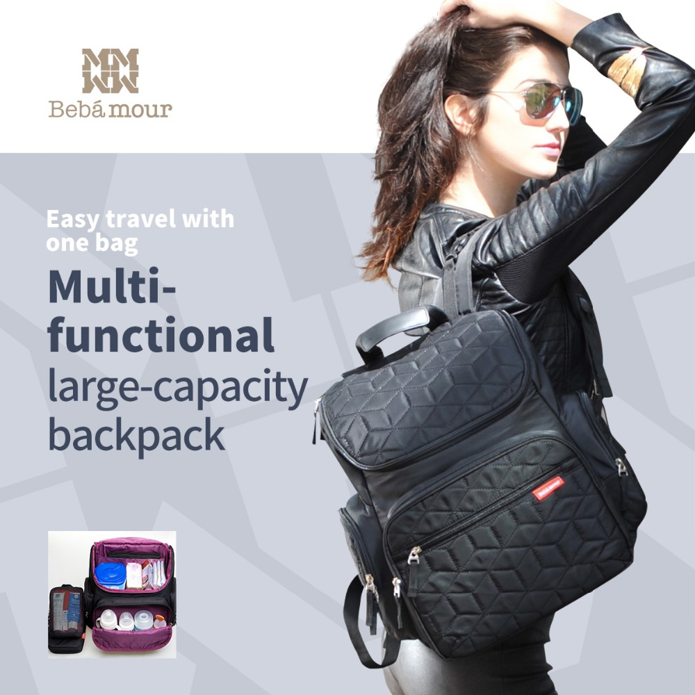все цены на 2017 New Diaper Bag Nappy Changing Bag Backpack Multifunctional  Nylon Waterproof Nappy Backpack with Changing Mat онлайн