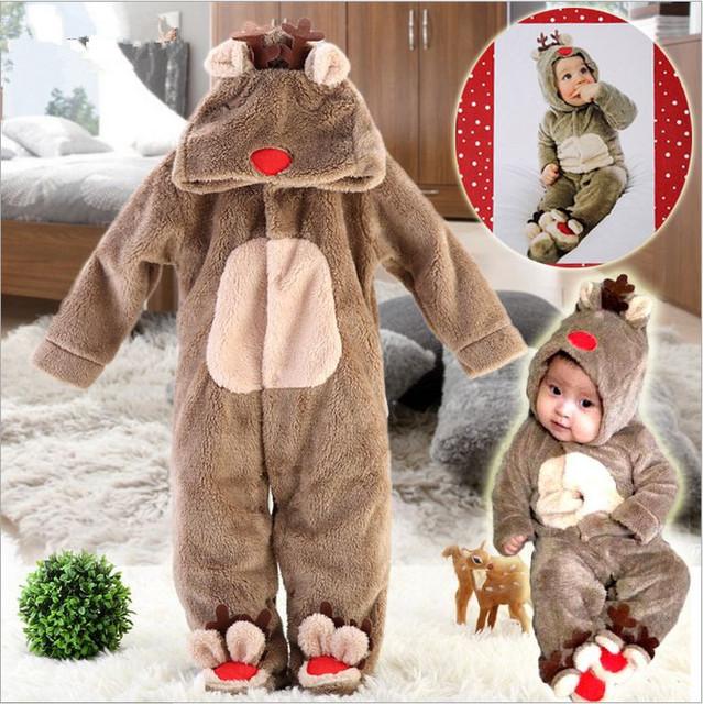 NOVA roupa do natal dos cervos do bebê coral do velo do bebê romper com capuz, meninos das meninas do bebê romper outono & inverno recém-nascidos roupas toddle